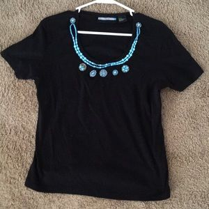 Beautiful Black Short Sleeve Top With Turquoise